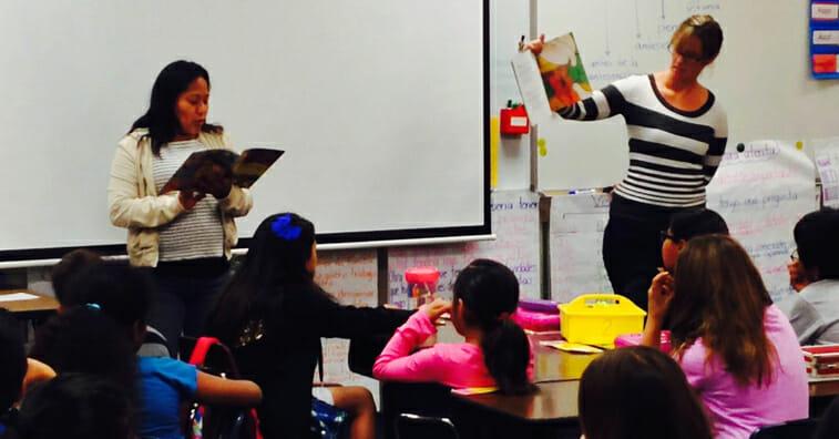 Teachers reading to students at Rodd Kelley Elementary