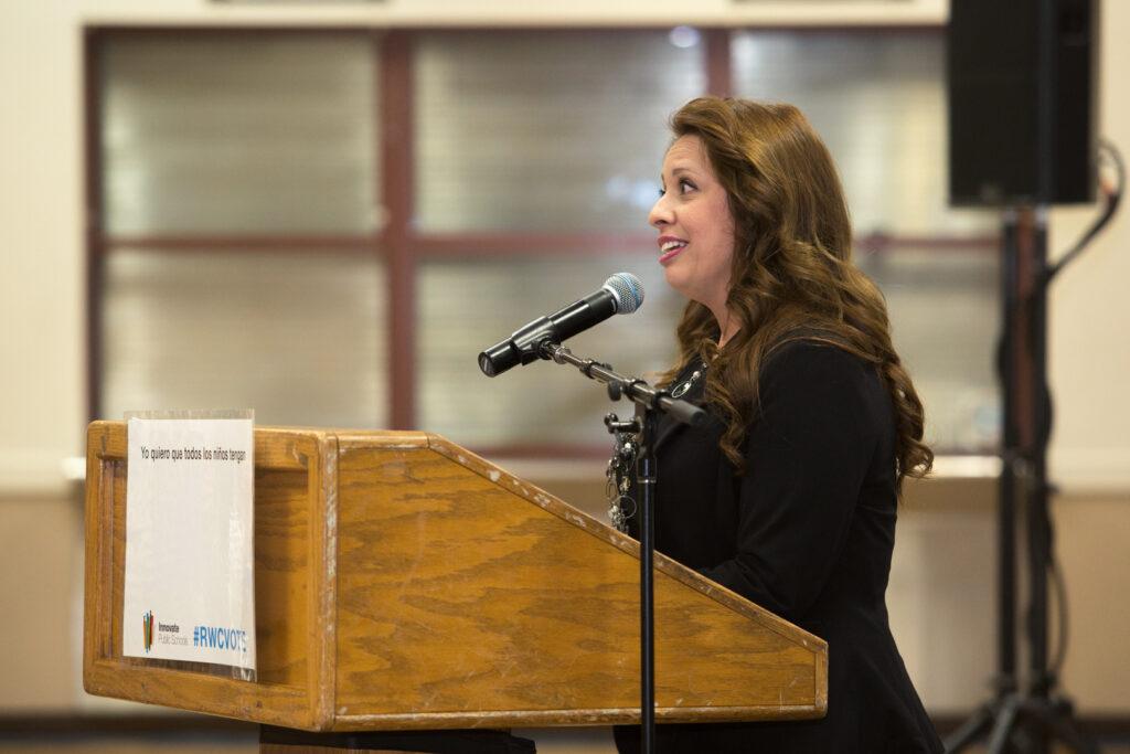Michelle Vilchez speaking at Sequoia Union High School District Candidates Forum